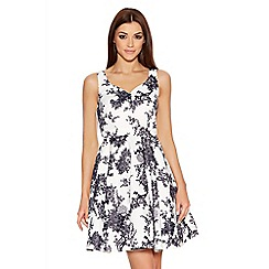 Quiz - Grey Satin China Print Sweetheart Dress