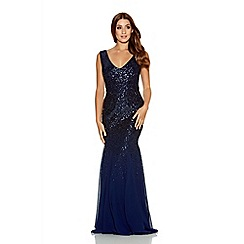 Quiz - Navy Sequin V Neck Chiffon Fishtail Maxi Dress