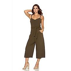 Quiz - Khaki Crepe Strappy Culotte Jumpsuit