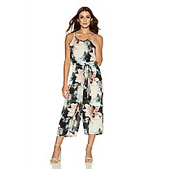 Quiz - Black Pink And Crepe Flower Print Culotte Jumpsuit
