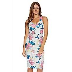 Quiz - Cream And Pink Flower Print Strap Dress