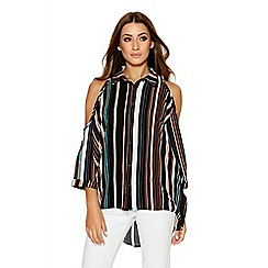 Quiz - Black And Orange Stripe Cold Shoulder Shirt