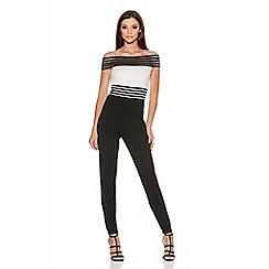 Quiz - Cream And Black Mesh Bardot Contrast Jumpsuit