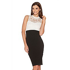 Quiz - Cream And Black Lace Turtle Neck Dress