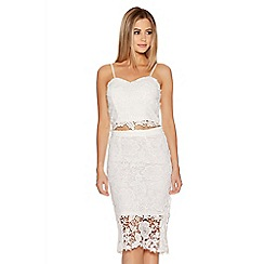 Quiz - Cream Crochet Lace Midi Skirt