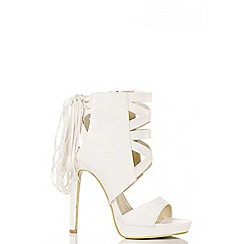 Quiz - White PU Fringe Strap Sandals