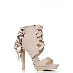 Quiz - Nude Faux Suede Fringe Back Sandals