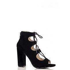 Quiz - Black Faux Lace Up Block Heel