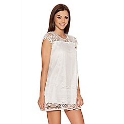 Quiz - Cream Crochet Lace Pom Pom Tunic Dress