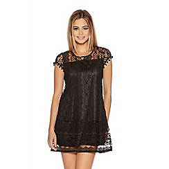 Quiz - Black Crochet Lace Pom Pom Tunic Dress