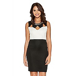 Quiz - Cream And Black Cut Out Bodycon Dress