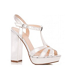 Quiz - Silver Block Heel Sandals