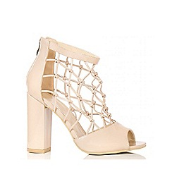 Quiz - Nude Cage Block Heel Sandals