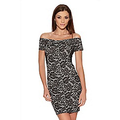 Quiz - Black And Cream Crepe Lace Bardot Bodycon Dress