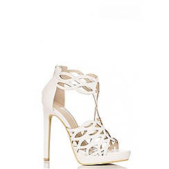 Quiz - White PU Cut Out Sandals