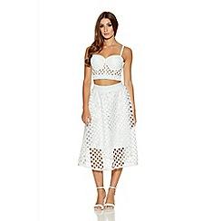 Quiz - White Cut Out Detail Flare Midi Skirt