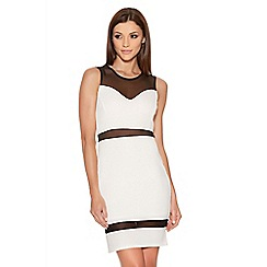 Quiz - Cream And Black Mesh Bodycon Dress