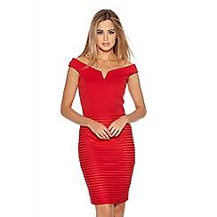 Quiz - Red Ribbed Mesh Bardot Bodycon Dress