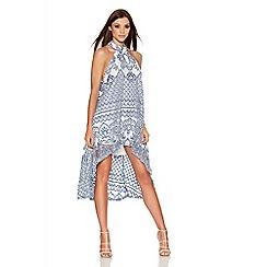 Quiz - Blue Crochet High Neck Dip Hem Dress
