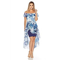 Quiz - Blue And Lilac Chiffon Bardot Dip Hem Dress