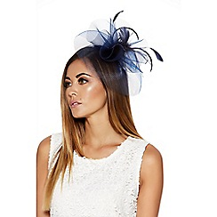 Quiz - Navy Large Feather Fascinator