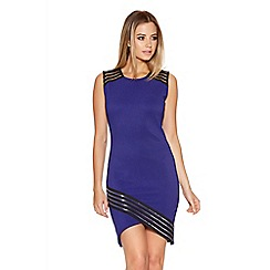 Quiz - Royal Blue Mesh Asymmetrical Bodycon Dress