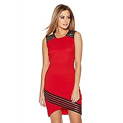 Quiz - Red And Black Mesh Asymmetrical Bodycon Dress