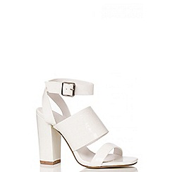 Quiz - White Patent Strap Block Heel Shoes