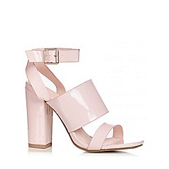 Quiz - Pink Patent Strap Block Heel Shoes