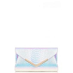 Quiz - Iridescent Crocodile Print Envelope Bag