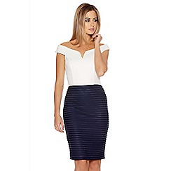 Quiz - Cream And Navy Ribbed Bardot Dress