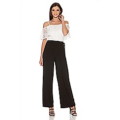 Quiz - Cream And Black Lace Bardot Palazzo Jumpsuit