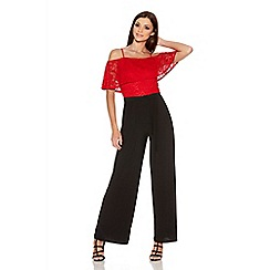 Quiz - Red And Black Lace Bardot Palazzo Jumpsuit