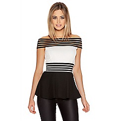 Quiz - Cream And Black Contrast Mesh Bardot Top