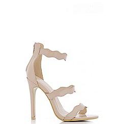 Quiz - Nude Patent Wave Strap Sandals