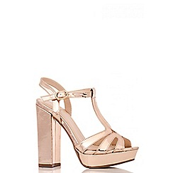 Quiz - Rose Gold Block Heel Sandals