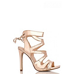 Quiz - Rose Gold Cage Lace Back Sandals