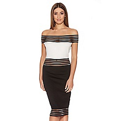 Quiz - Black And Cream Bardot Midi Dress