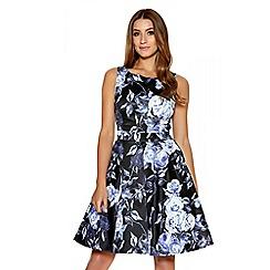 Quiz - Black Satin High Neck Floral Dress