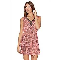 Quiz - Pink Paisley Print Feather Tunic Dress
