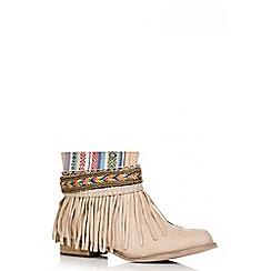 Quiz - Stone Faux Suede Fringe Ankle Boots