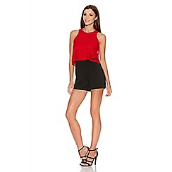 Quiz - Red And Black Lace Playsuit