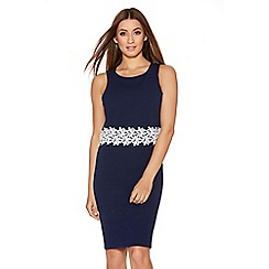 Quiz - Navy And Cream Crochet Trim Two Layer Dress