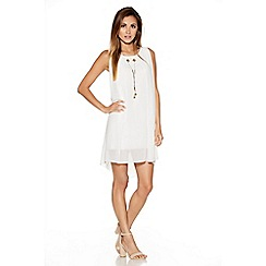 Quiz - Cream Chiffon Necklace Tunic Dress