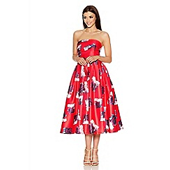Quiz - Red And Cream Rose Print Bandeau Midi Dress