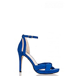 Quiz - Blue Faux Suede Heel Sandals