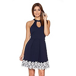 Quiz - Navy And Cream Lace Trim Keyhole Pleated Dress