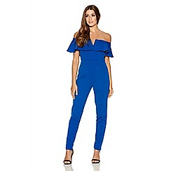Quiz - Royal Blue Bardot Frill Tight Leg Jumpsuit