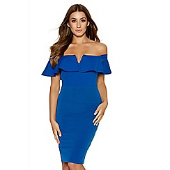 Quiz - Royal Blue Bardot Frill Bodycon Dress