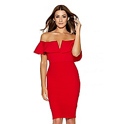 Quiz - Red Bardot Frill Bodycon Dress